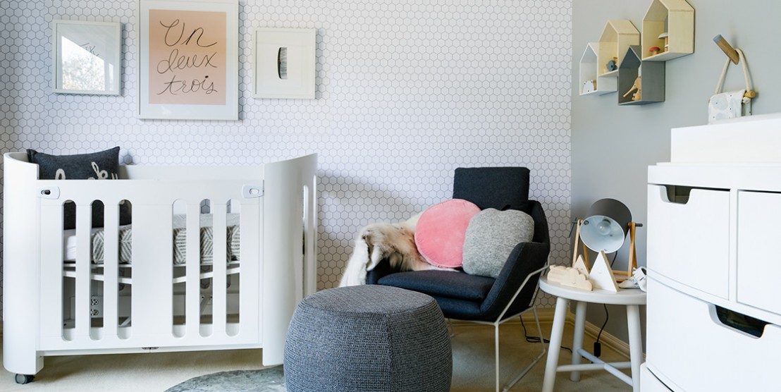 Beautiful baby nursery in greys and navy