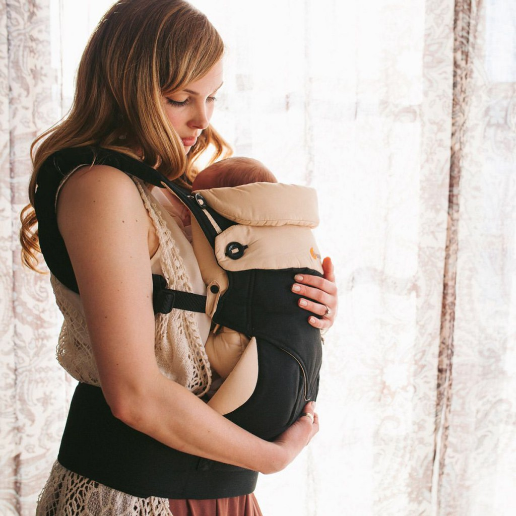 Ergobaby 360 Carrier in Black & Camel with baby