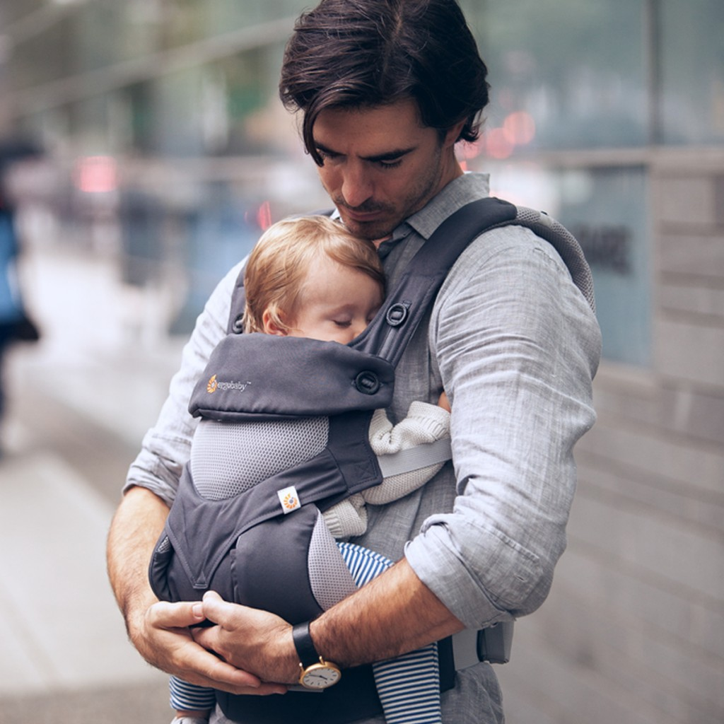 Ergobaby 360 Carrier in Carbon Grey with baby