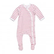 Side-Snap Footie Blush Stripe