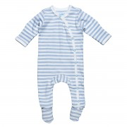 Side-Snap Footie Ice Blue Stripe