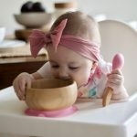 Avanchy Bamboo Stay Put Suction Bowl Baby Spoon Lifestyle