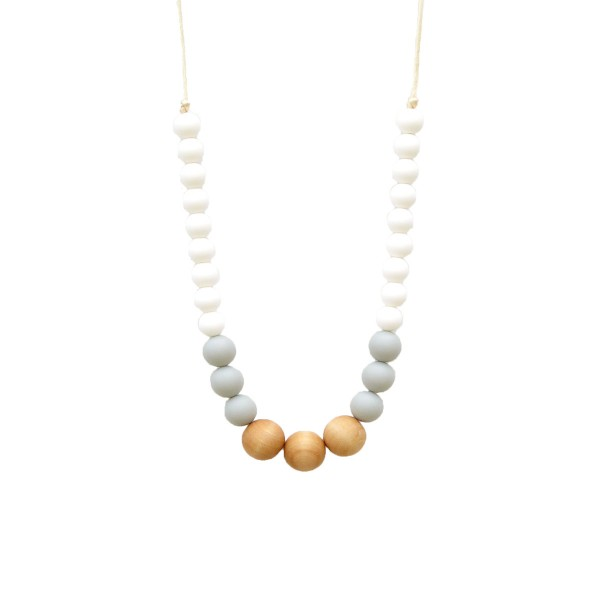 LoulouLollipopNecklaceWoodWhiteGrey