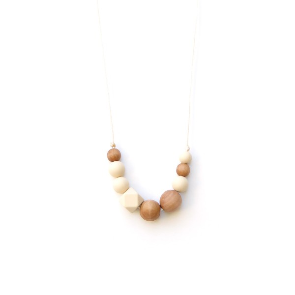 LoulouLollipopNecklaceWoodQuadraBeigeCream