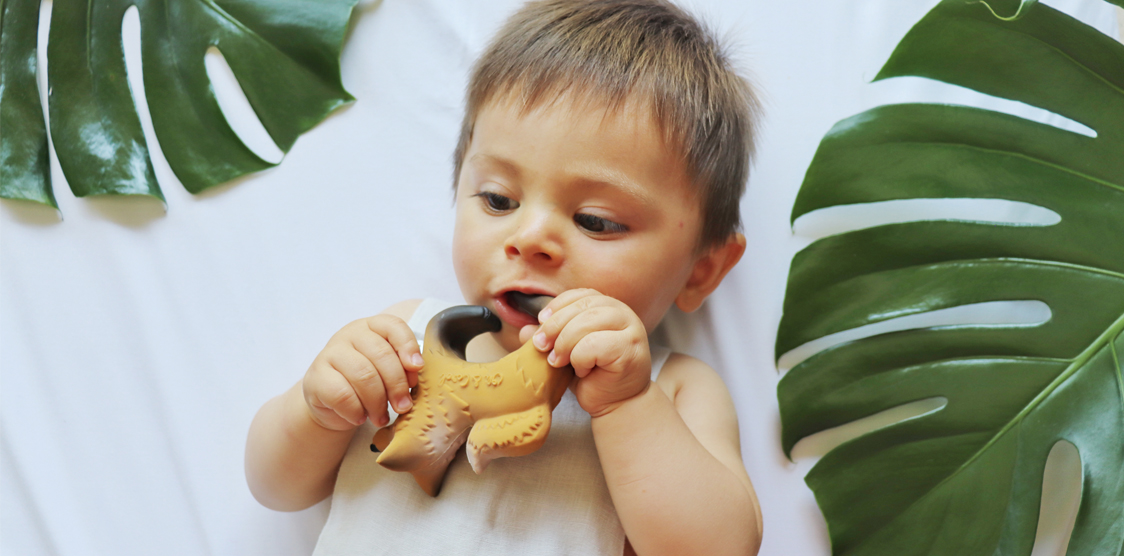 A baby playing with a non-toxic baby toy.
