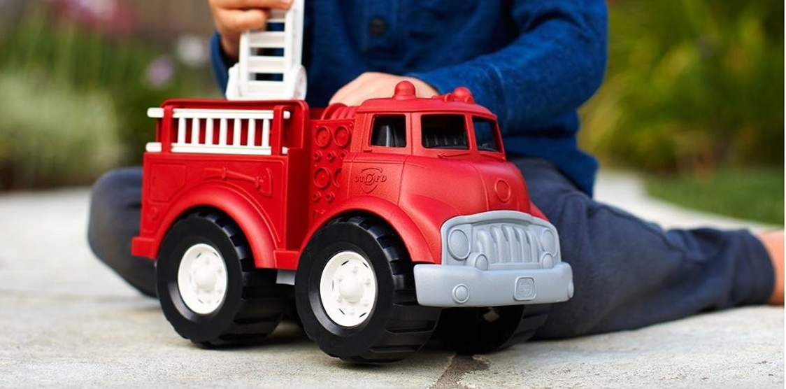 recycled red fire truck toy