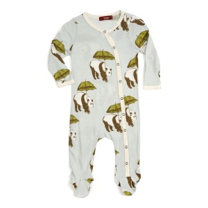 Milkbarn Bamboo Footed Romper in Blue Panda