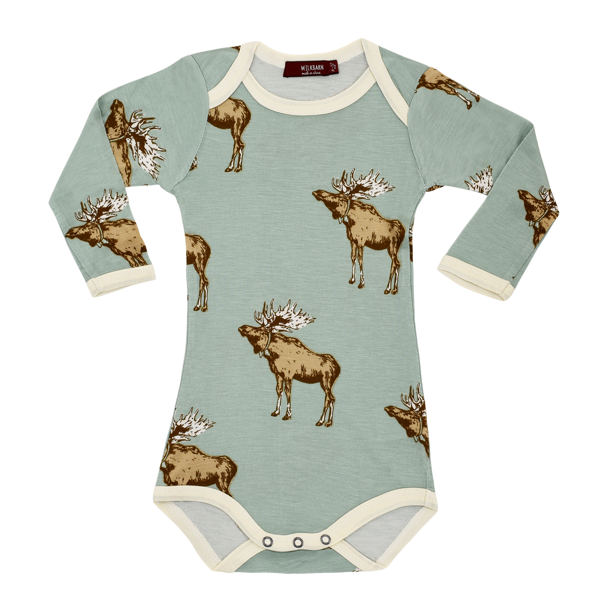 Milkbarn Long Sleeve Bamboo Bodysuit in Blue Moose