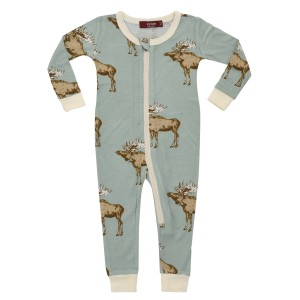 Milkbarn Bamboo Zippered Pajama in Blue Moose