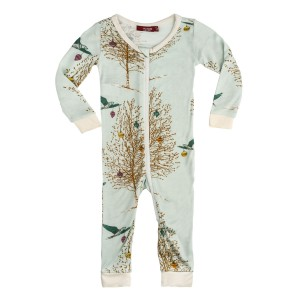 Milkbarn Bamboo Zippered Pajamas in Holiday Birds
