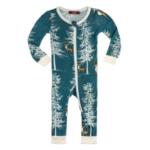 Milkbarn Bamboo Zippered Pajamas in Holiday Buck