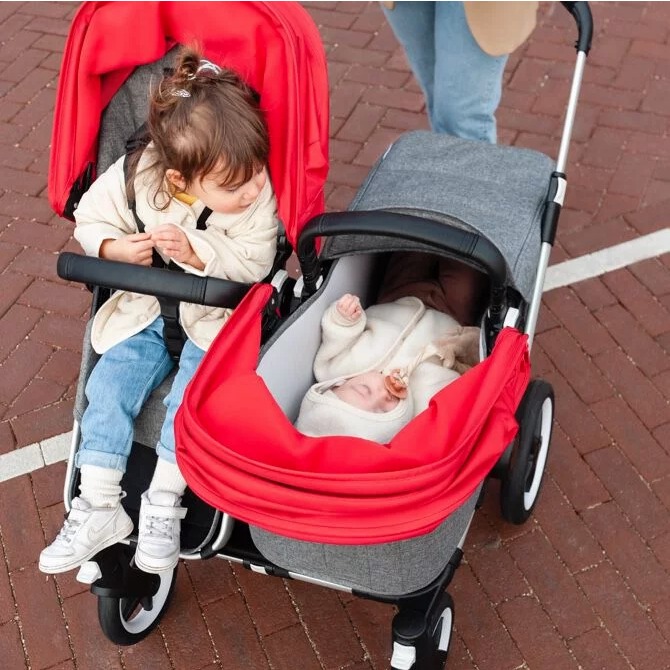 Two kids in the bugaboo donkey 3 stroller