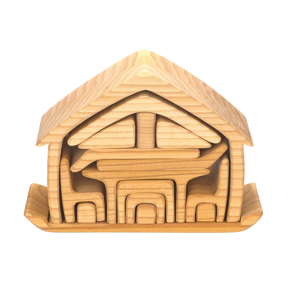 Wooden Wagon All In One Natural Dollhouse