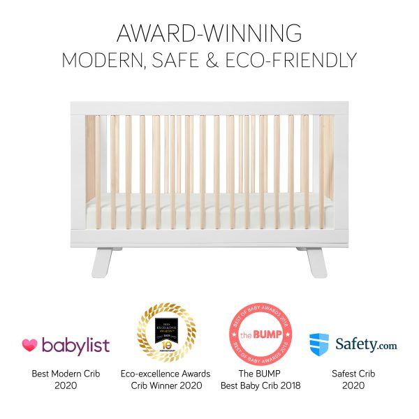 Hudson 3-in-1 Convertible Crib in White and Washed Natural 1