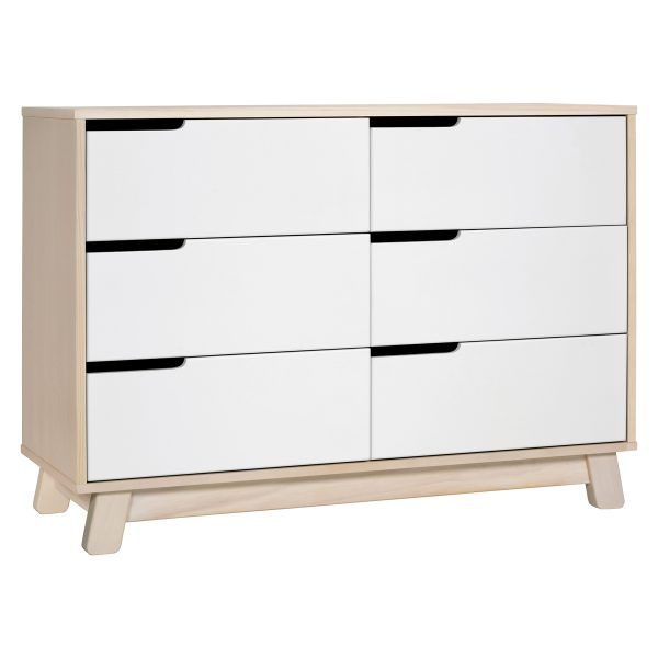 Babyletto Hudson 6-Drawer Double Dresser, Assembled Washed Natural and White5