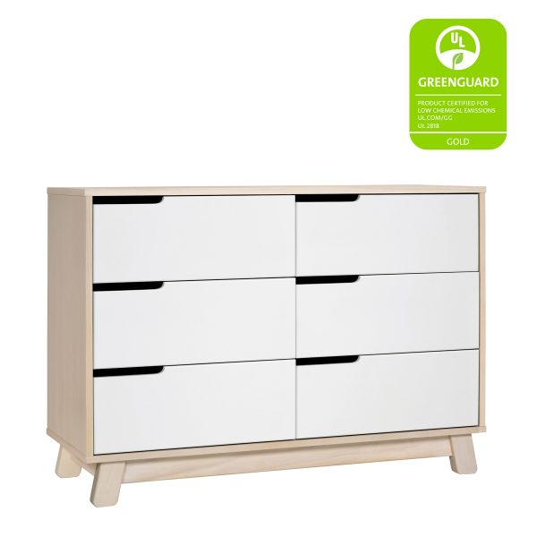 Babyletto Hudson 6-Drawer Double Dresser, Assembled Washed Natural and White6
