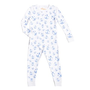 Petidoux Pima Cotton Pajama Set in White Anchoring in Nantucket Print