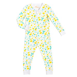 Petidoux Pima Cotton Pajama Set in White with Sicilian Lemon Print