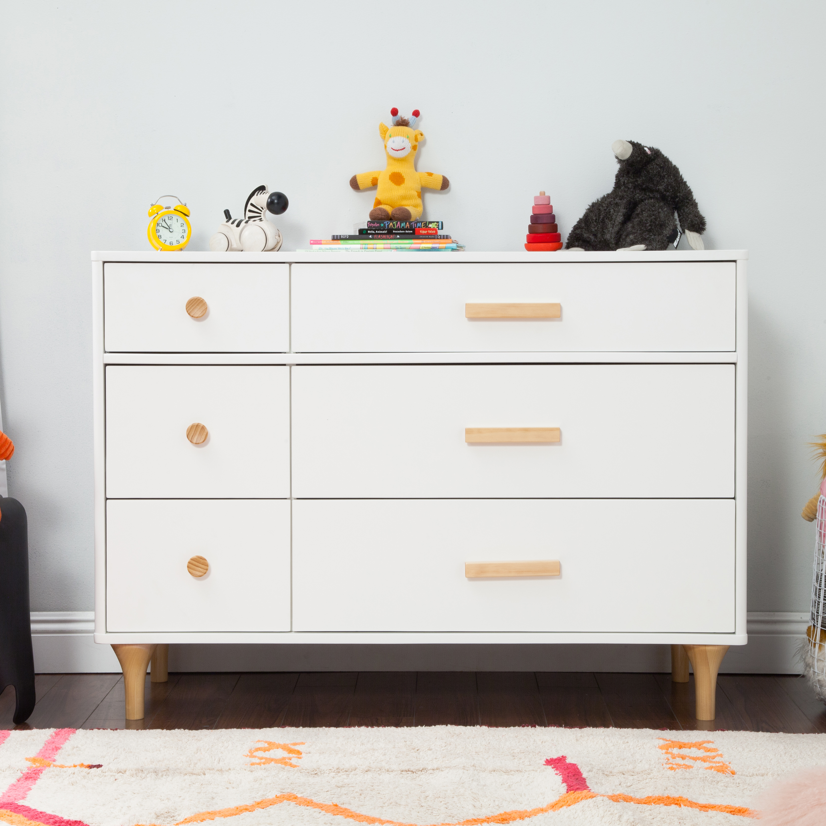 white and natural wood dresser