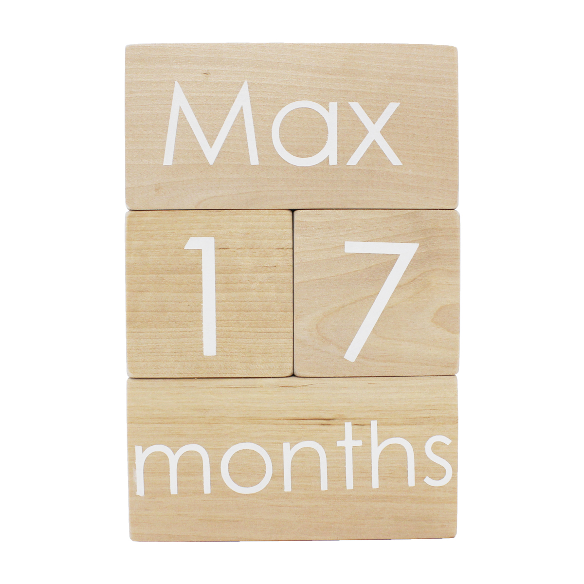 Modern Blocks Month Blocks Set in Natural with White