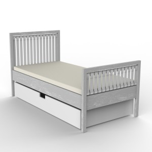 DucDuc Campaign Twin Bed with Trundle Light Grey Cerused
