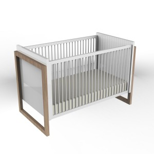 DucDuc Campaign II Crib White with Bleached Walnut
