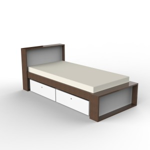 DucDuc Parker Bed with low footboard in Natural Walnut & White
