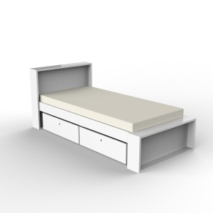 DucDuc Parker Bed with low footboard in White Aura
