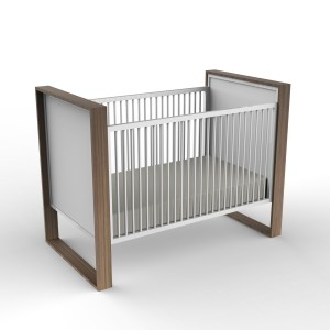 DucDuc Parker Crib in Bleached Walnut & White