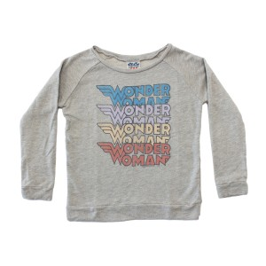 Junk Food Clothing Cotton Pullover in Grey with Wonder Woman Logo print