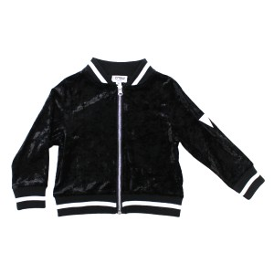 Crew Velour Bomber Jacket in Black