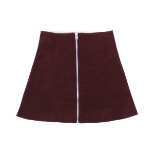 Crew Wool Zip Skirt in Berry