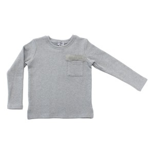 Crew Fur Pocket Top in Grey