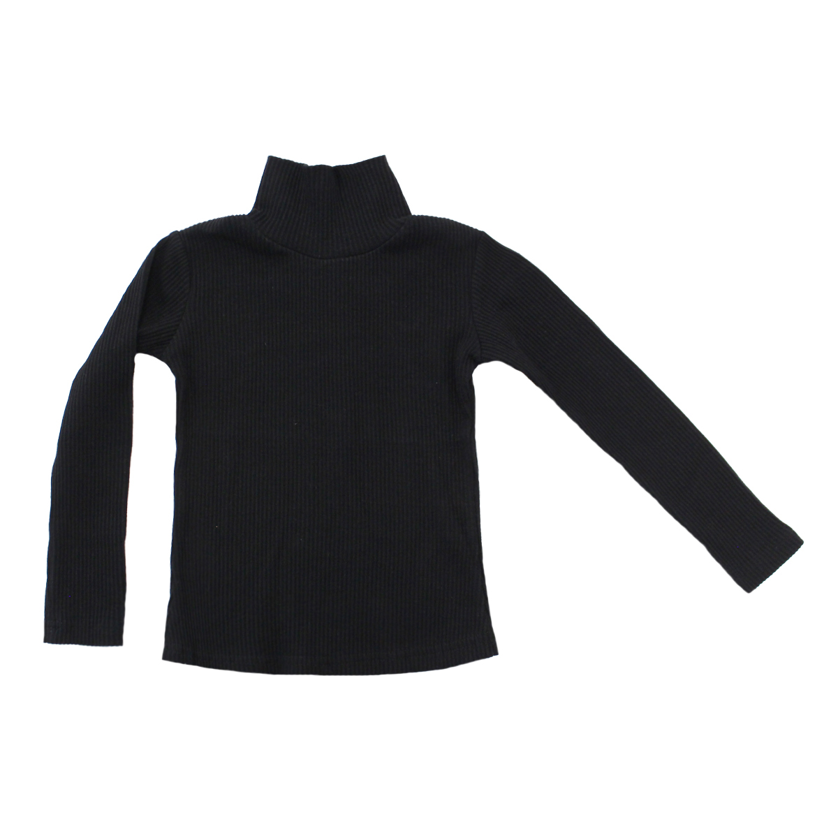 Crew Rib Turtleneck in Black