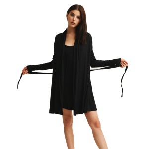 Skin Wrap robe in black