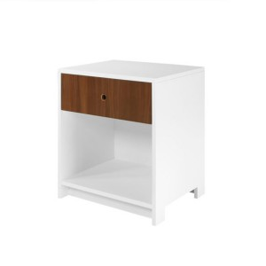 DucDuc Parker 1 Drawer Nightstand White with Natural Walnut