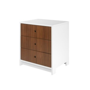 DucDuc Parker 3 Drawer Nightstand White with Natural Walnut