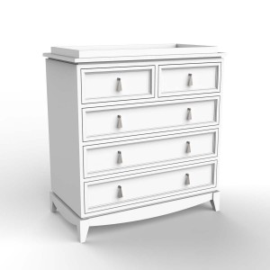 DucDuc Regency Wooden 5 Drawer Changer in White