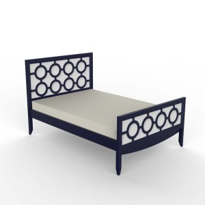 DucDuc Regency Wooden Twin Bed in Old Navy & White