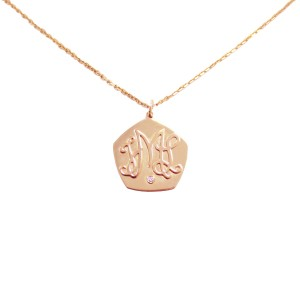 Sue Gragg Diamond Initial Pendant Necklace Rose Gold