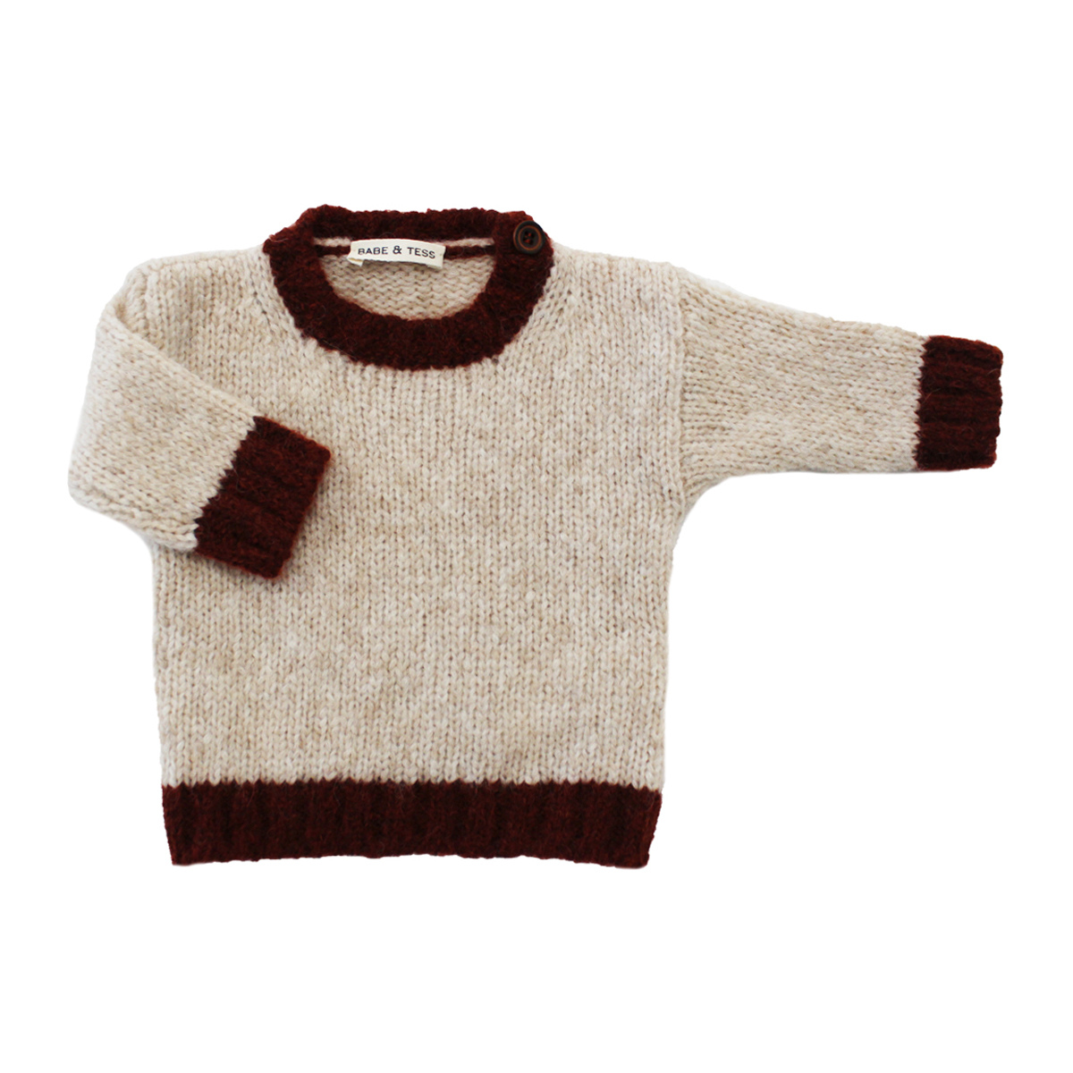 Babe & Tess Turtleneck Sweater in Natural & Maroon