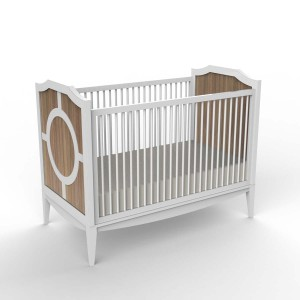 DucDuc Regency Crib in White with Bleached Walnut