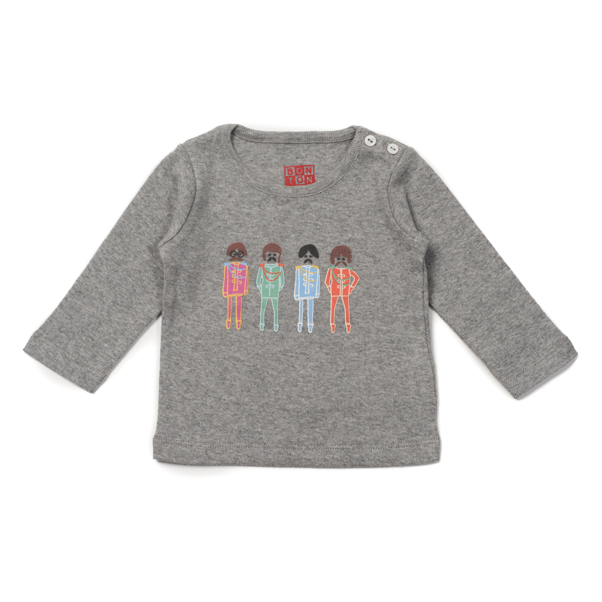 Bonton Light Grey Long Sleeve Shirt w/ Beatles band print