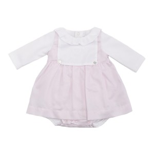 Laranjinha Pink & White Dress Set