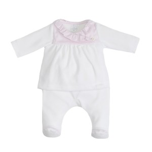 Laranjinha Pink & White Top & Footie Pant Set