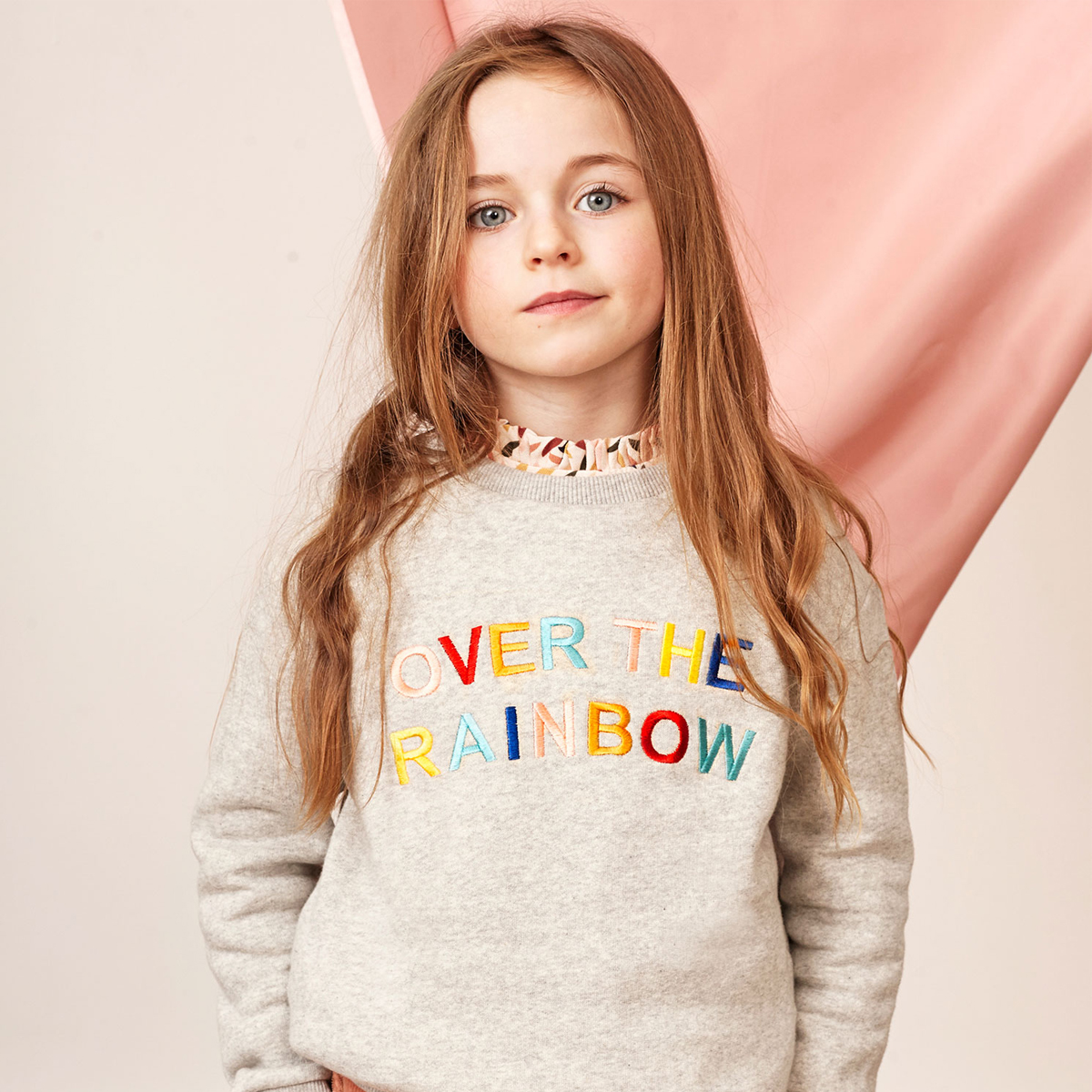 Blune Grey Over The Rainbow Sweater on girl