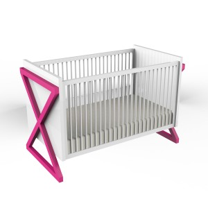 Ducduc Campaign Crib White with Hot Pink
