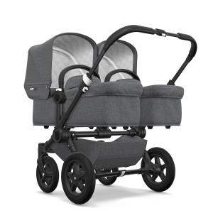 Bugaboo Classic Collection Donkey 2 Twin Stroller Black frame with Grey Melange