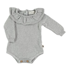 My Little Cozmo Light Grey Knit Ruffled Collar Bodysuit