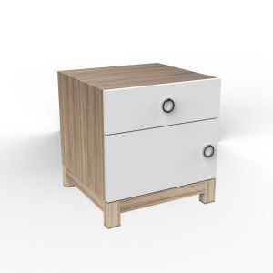 DucDuc Cabana Wooden Nightstand in Bleached Walnut & White